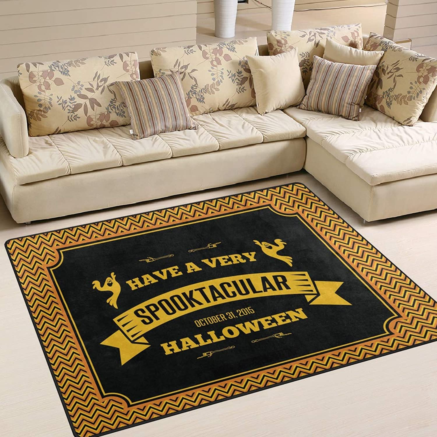Halloween Area Rugs 80 x 58 Inch Door Mats Indoor Polyester Non Slip Multi Rectangle Carpet Kitchen Floor Runner Decoration Home Bedroom Living Dining Room