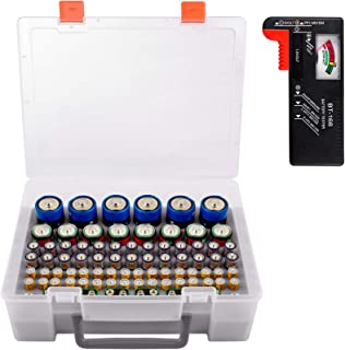 Battery Organizer Storage Box, Garage Storage Containers Case Holder with Battery Checker Tester Fits for 86 Batteries AA ...