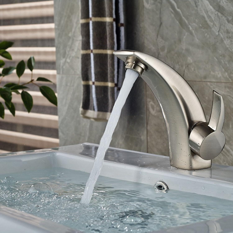 Retro Deluxe Fauceting Nickel gebürstet Messing Badezimmer Waschtisch Armatur Waschbecken Mischbatterie ein Hebel