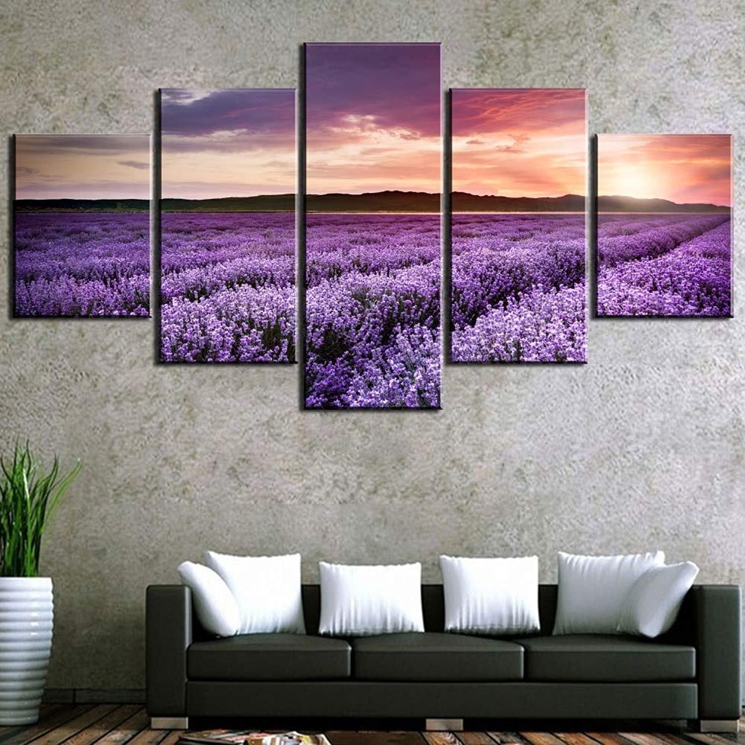 LONLLHB Painting Canvas Painting 5 Hd Print Lavender Field Landscape Canvas Wall Art Home Decor for Living Room Unique Gift Wall Picture