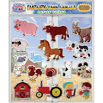 Rooster Travel or Classrooms Pig Removable Reusable Gel Decals for Home Chicks Funny Farm Animal Flexible Gel Clings CPSC Certified Safe Window Clings for Kids and Toddlers Cow and More