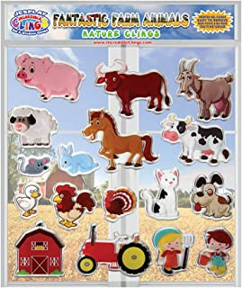 Fantastic Farm Animals Thick Printed Gel Clings – Reusable Glass Window Clings for Kids and Adults - Incredible Gel Decals of Pig, Horse, Dog, Cat, Cow, Duck for Home, Airplane, Classroom, Nursery