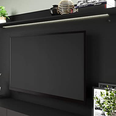 Naomi Home Bliss Wall-Mounted Entertainment Center with TV Panel Black/Black