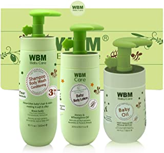 WBM Care WBM LLC Essential Baby & Mommy Oil, Lotion & 3 in 1 Baby Shampoo Care & Bath Products to Nourish Skin, 3 Items, B...