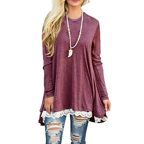 c812d8df170934 WEKILI Women's Tops Long Sleeve Lace Scoop Neck A-line Tunic Blouse