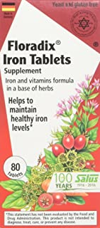 Floradix Tablets Iron Supplement 80Count - Supports Red Blood Cell Formation - Vegetarian, No Constipation, Non-GMO