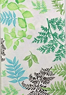 Ferns Leaves Vinyl Tablecloth Multi Colors with White Flannel Backing (52 x 70 Oblong)