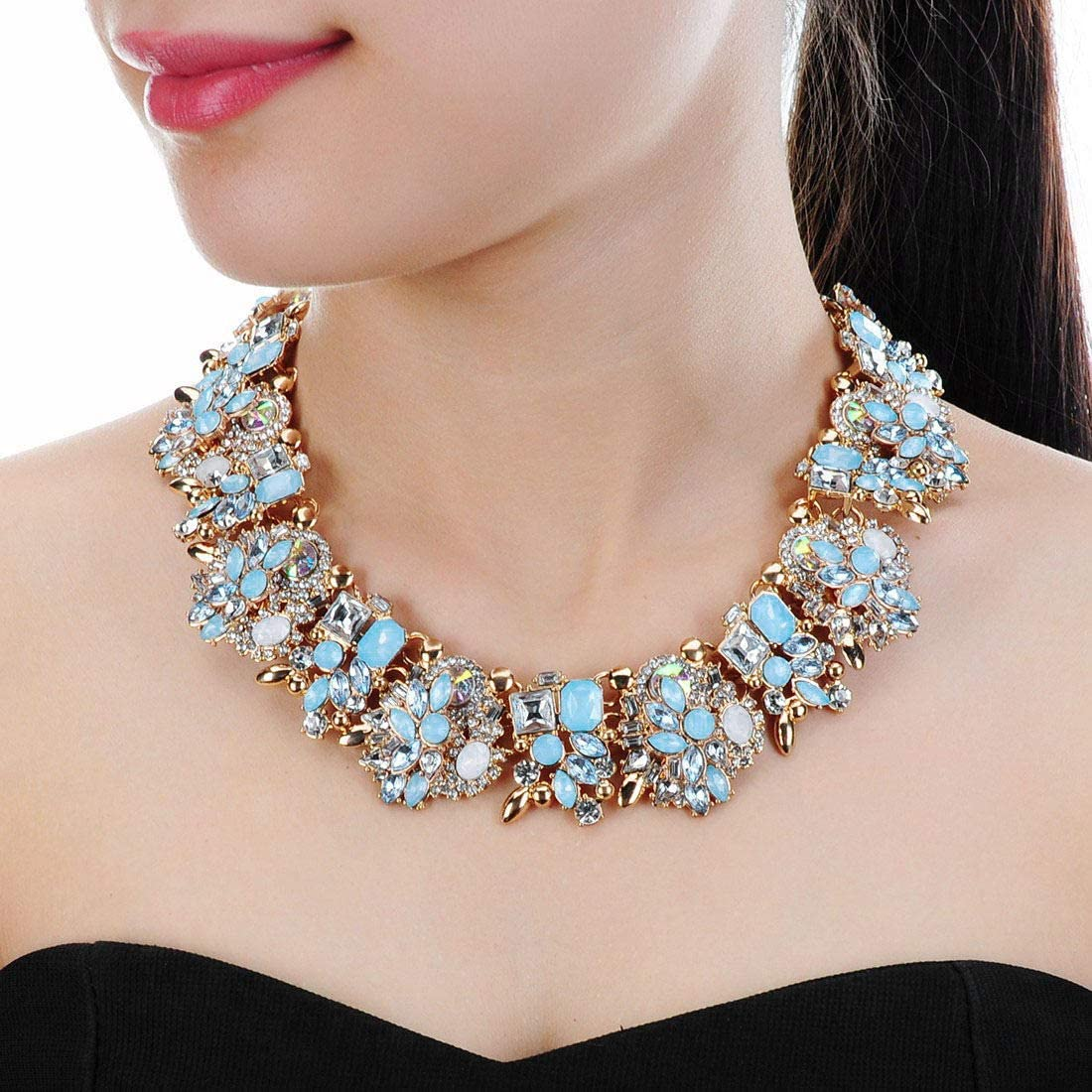 Crystal Rhinestone Statement Necklace, Vintage Chunky Chain Choker Collar Bib Statement Necklace Fashion Costume Jewelry Necklaces for Women…