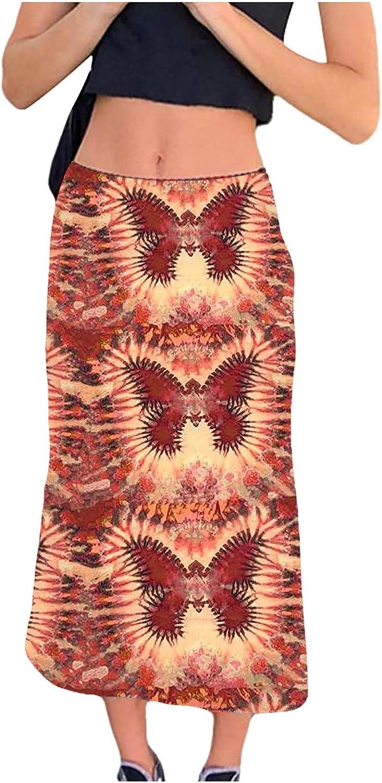 Ylikren Womens Print Long Skirt Casual High Waist Tummy Control Bohemian Retro Casual Skirt Maxi Skirts Long Uniform Skirts