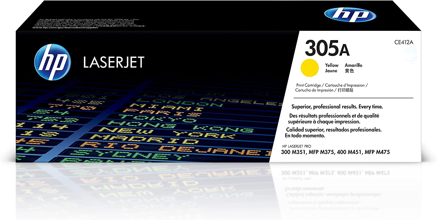 HP 305A   CE412A   Toner-Cartridge   Yellow   Works with HP LaserJet Pro Color M451 series, M475 series, M375nw
