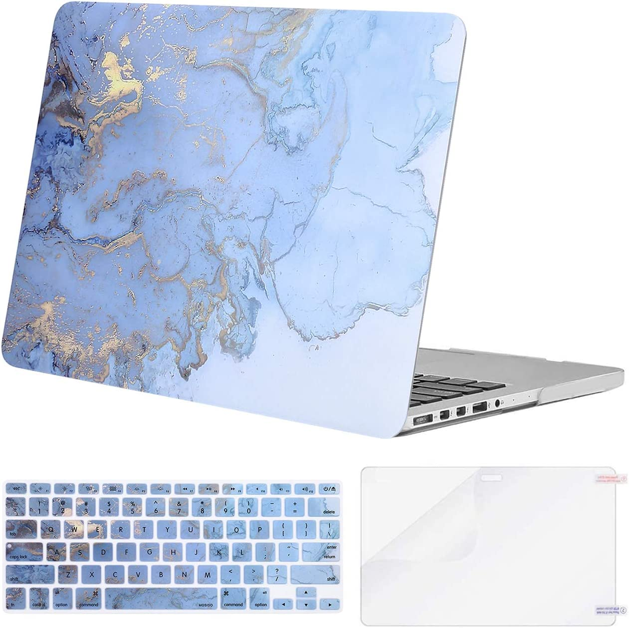MOSISO Compatible with MacBook Pro 13 inch Case 2015 2014 2013 end 2012 A1502 A1425 with Retina Display, Protective Plastic Watercolor Marble Hard Shell Case & Keyboard Cover & Screen Protector, Blue