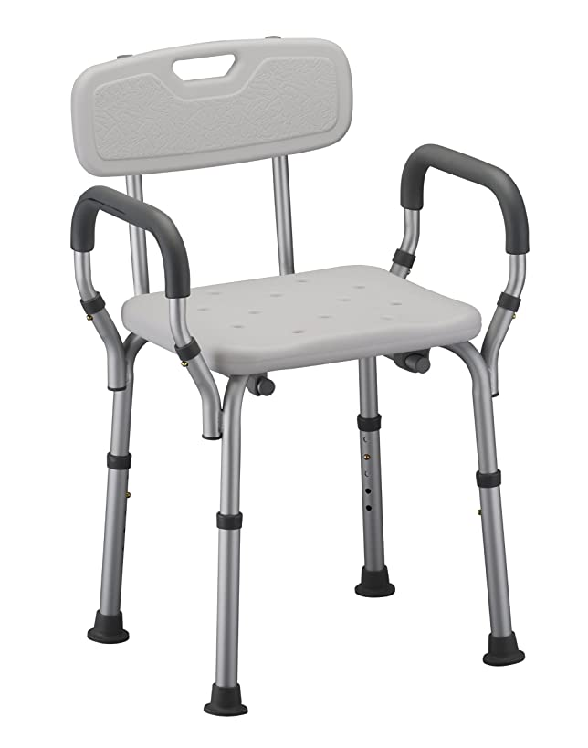 NOVA Shower and Bath Chair with Back & Arms, Quick & Easy Tools Free Assembly, Lightweight and Seat Height Adjustable, Great for Travel