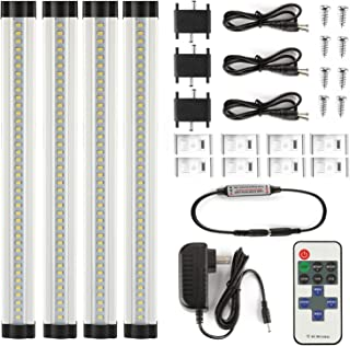 LXG 12in Dimmable LED Under Cabinet Lighting, 12W 2700K Warm White 1000LM, Clear Cover Led Strips,11key IR Remote Control 4 Pack