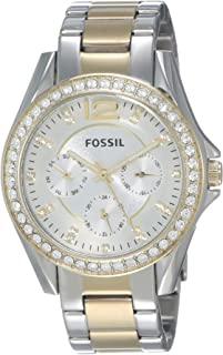 Fossil Women's Riley Quartz Two-Tone Stainless Steel Chronograph Watch, Color: Silver, Gold (Model: ES3204)