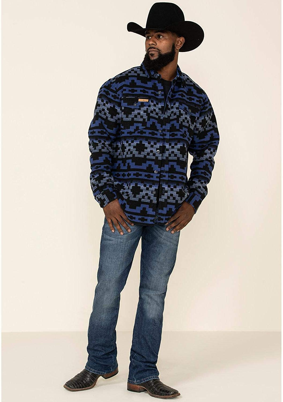 Powder River Outfitters Men's Navy Aztec Print Jacquard Shirt Jacket