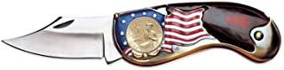 American Flag Coin Pocket Knife with Gold-Layered Bicentennial Quarter| 3-inch Stainless Steel Blade | Genuine United States Coin | Collectible | Certificate of Authenticity