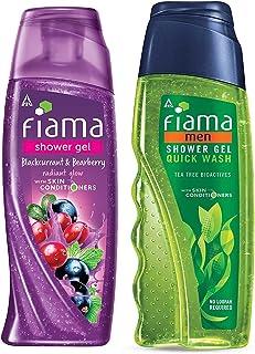 Fiama Shower Gel Blackcurrant & Bearberry Body Wash with Skin Conditioners & Fiama Men Shower Gel Quick Wash, Body Wash wi...