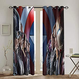 Zmlove Captain America Curtain Iron Man Lineup Poster Farmhouse Curtain W42 x L84 Inch