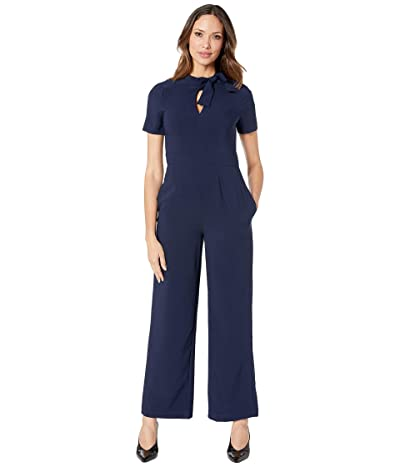 Maggy London Crepe Jumpsuit with Neck Tie (Navy) Women