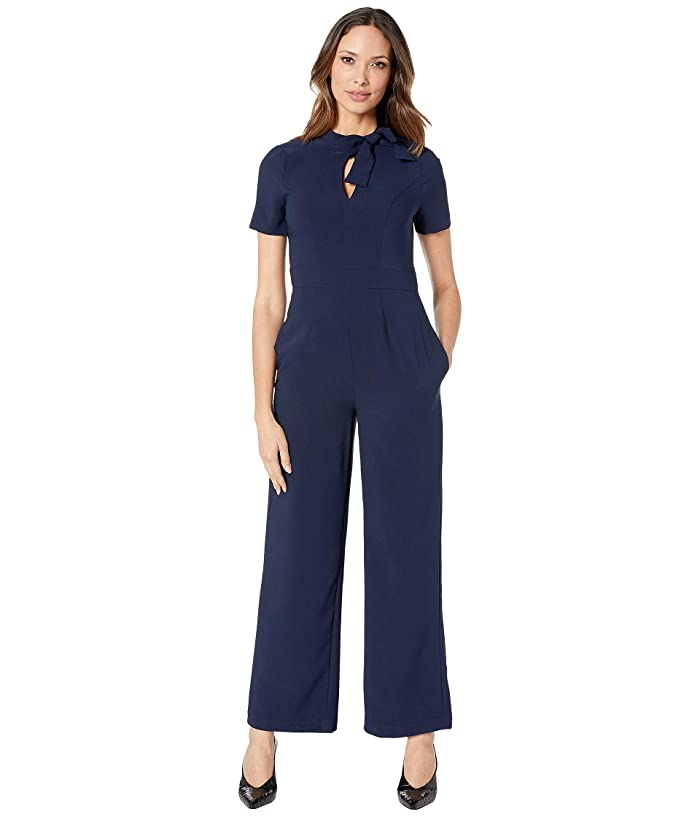 Maggy London  Crepe Jumpsuit with Neck Tie (Navy) Womens Jumpsuit and Rompers One Piece