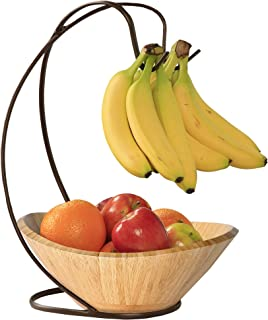"Seville Classics Bamboo Fruit Bowl with Banana Hook Steel Wire Tree Storage Basket, 13"" L x 11"" W, Espresso Brown"