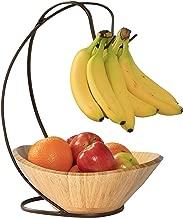 Seville Classics Fruit Tree with Banana Hook and Large Wavy Bamboo Bowl