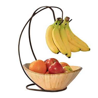 Seville Classics Bamboo Fruit Bowl with Banana Hook Steel Wire Tree Storage Basket, 13  L x 11  W, Espresso Brown