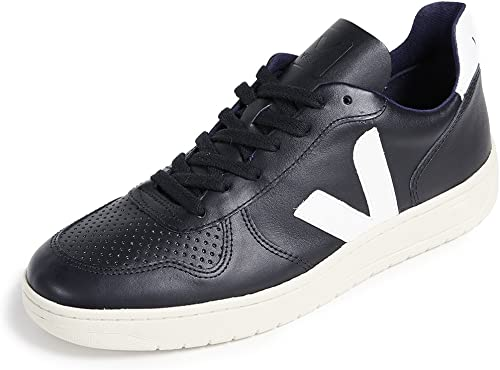 Veja V-10 Leather negro blancoo - Deportivas Hombre