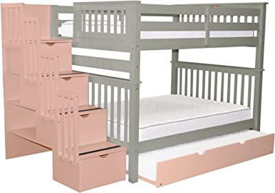 Bedz King Stairway Bunk Beds Full over Full with 4 Pink Drawers in the Steps and
