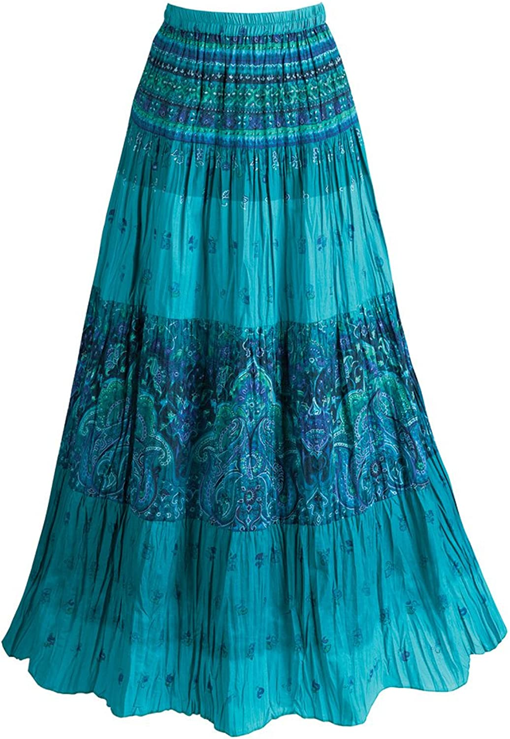 CATALOG CLASSICS Women's Long Peasant Skirt  Tiered Broom Style in Caribbean bluees