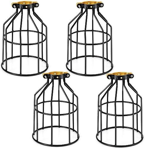 Industriel lustre Suspension Luminaire Rétro Lustre Plafonnier Vintage Noir Lampe Suspendue Cage Éclairage Plafond Ab...