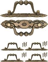 FUXXER® - 4 x antieke meubelgrepen inklapbaar, klapgrepen voor laden, kisten, kasten, commodes, keukens, antiek brons vint...