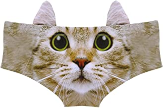 YiZYiF Women's Underwear Ears 3D Printed Naughty Animals Panties Lingerie Briefs