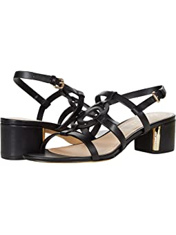 COACH Edina Sandal,Black Leather