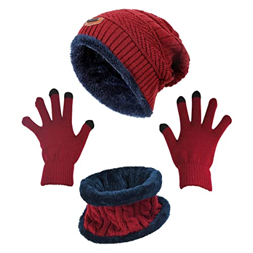 590ce9ddf96cc Winter Beanie Hat Scarf Gloves Slouchy Snow Knit Skull Cap Infinity Scarves  Touch Screen Mittens for