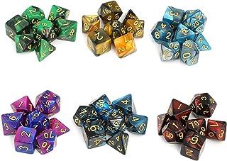 Moncolis 6 x 7 (42 stuks) Polyedrische dobbelstenen set met zakje dubbele kleuren polyedrische speelkubus voor Dungeons an...
