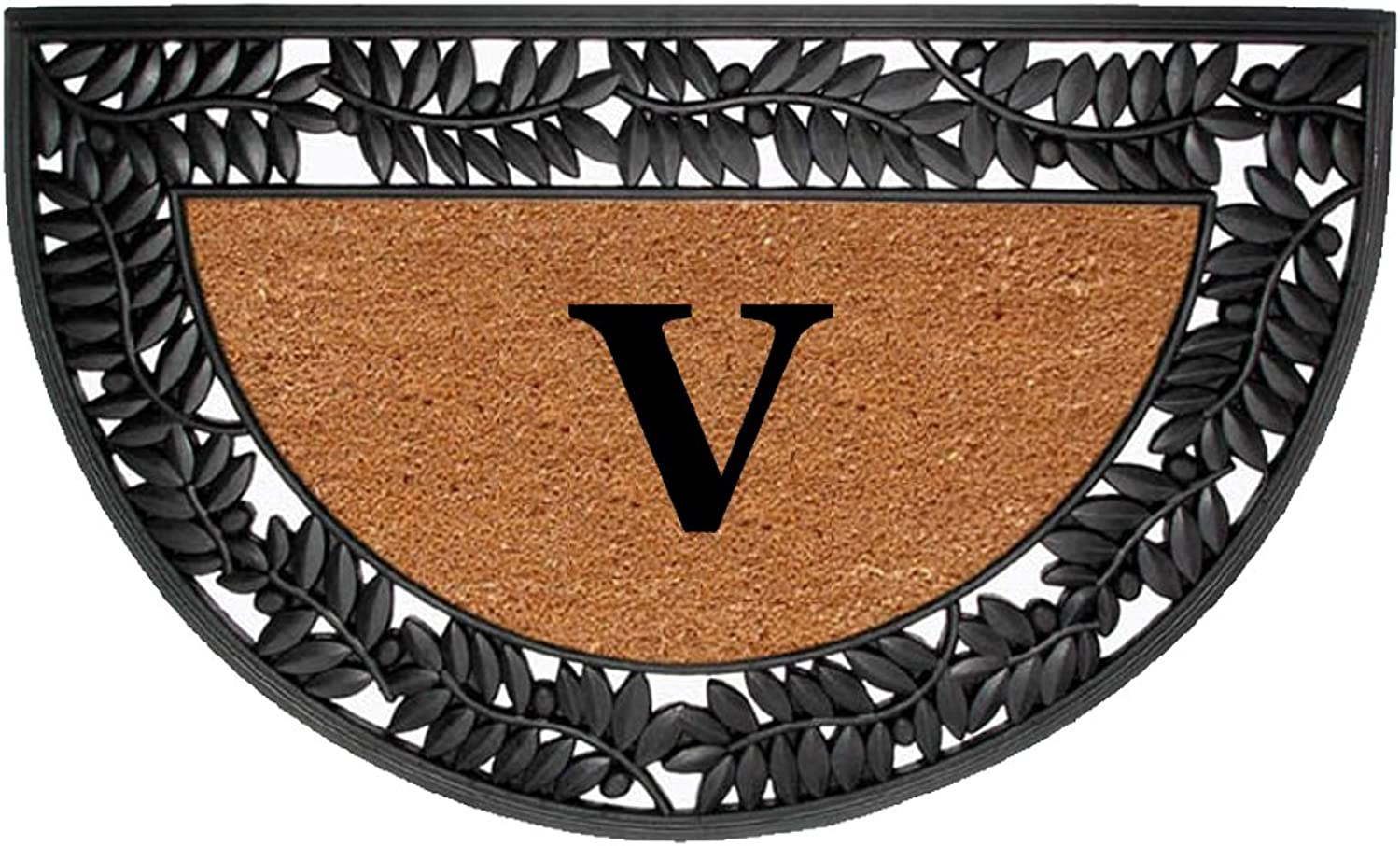 Creative Accents Monogrammed V Wrought Iron Rubber Coir Mat with Half Round Olive Border, 22  x 36