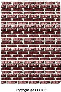 SCOCICI Leather Passport Cover Luxury Retro Cartoon Style Double Decker Bus Pattern UK England Travel Transportation Protector Case Holder