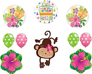Mod Monkey Party Supplies Birthday Girl Monkey Love Hibiscus and Polka Dots Balloon Bouquet Decorations