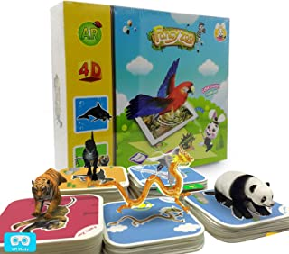 Monopril 68pcs Animals Flash Cards Fancy Zoo Fun Education Animals Augmented Reality 4D AR Learning Cards Magical Animal Interactive Educational Game with 13 Languages for 3 Years and up Kids