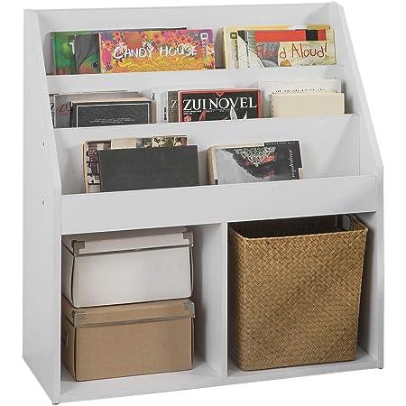 SoBuy® KMB01-W Bibliothèque Étagère à Livres Étagère de Rangement Jouets pour Enfants Porte-revues 3 Compartiments et 2 Cubes Ouverts