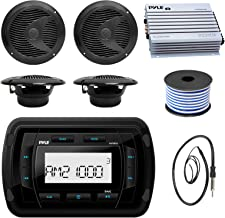 Pyle PATVR10 MP3 Bluetooth Marine Boat Yacht Stereo Receiver Bundle Combo With 4x Black 6-1/2'' Inch Dual Cone Waterproof Stereo Speaker + Enrock Radio Antenna + 400 Watt Amplifier + 18G 50-FT Wire
