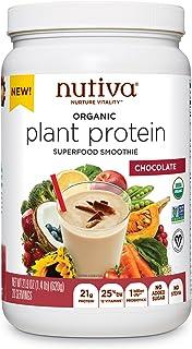 Nutiva Organic Plant Protein Superfood Smoothie, Chocolate, 1.4 Pound | USDA Organic, Non-GMO, Non-BPA | Vegan, Gluten-Fre...