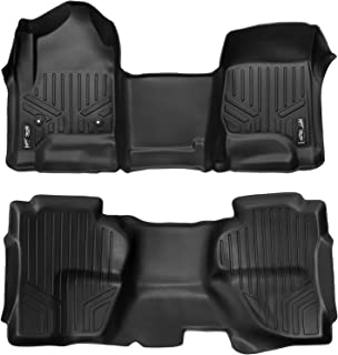 MAXLINER Floor Mats 2 Row Liner Set Black for Double Cab 2014-2018 Silverado/Sierra 1500 - 2015-2019 2500/3500 HD