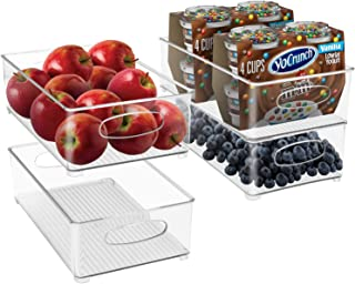 Sorbus Plastic Storage Bins Stackable Clear Pantry Organizer Box Bin Containers for Organizing Kitchen Fridge, Food, Snack...