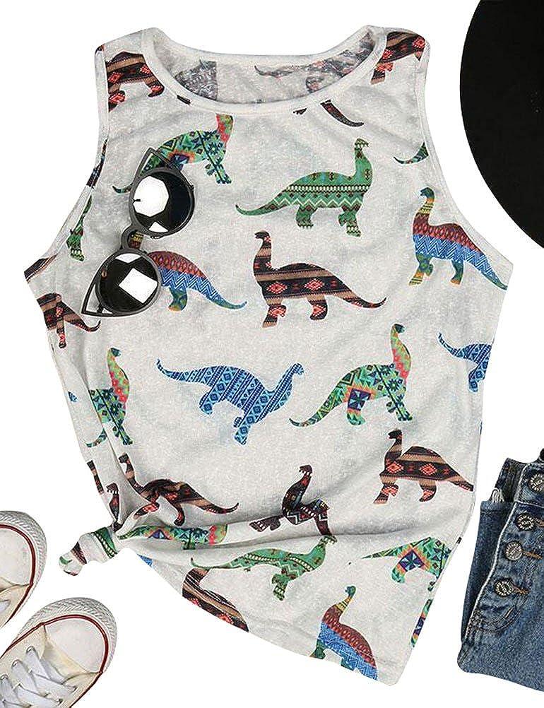 Ranking TOP14 ZJP Women Casual Colorblock Tank Tops Print Over item handling Tee P Dinosaur Shirt