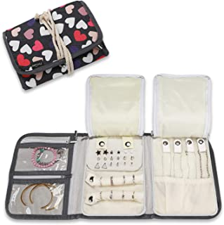 Relojes Queta Estuche para Joyas para Viaje Collares Color Rosa Organizador para Joyas hogar joyero Enrollable Pendientes Anillos