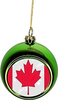 Lea Elliot Inc. Canada Flag Maple Leaf Grunge Bauble Christmas Ornaments Green Bauble Tree Xmas Balls