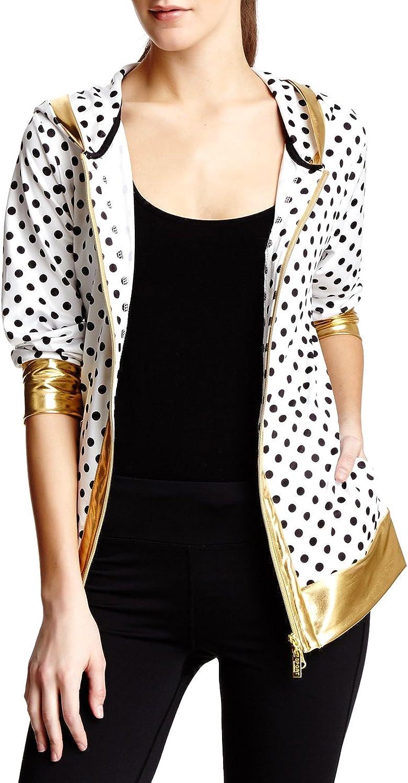 Isaac Mizrahi Women's Sport Poka Dot Hoodie Jacket  White Black