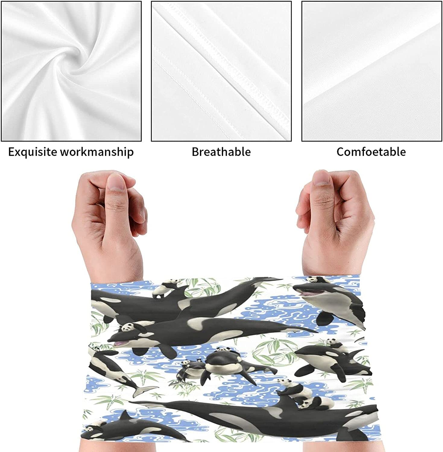 Whale Printed2 Neck Gaiter Multipurpose Headwear Ice Silk Mask Scarf Summer Cool Breathable Outdoor Sport 4 Pcs